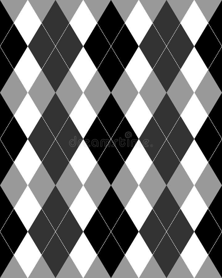 Grayscale do teste padrão de Argyle ilustração do vetor