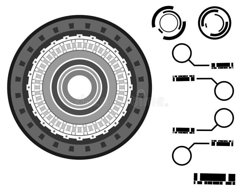 Grayscale-futuristischer Kreis HUD stockbild