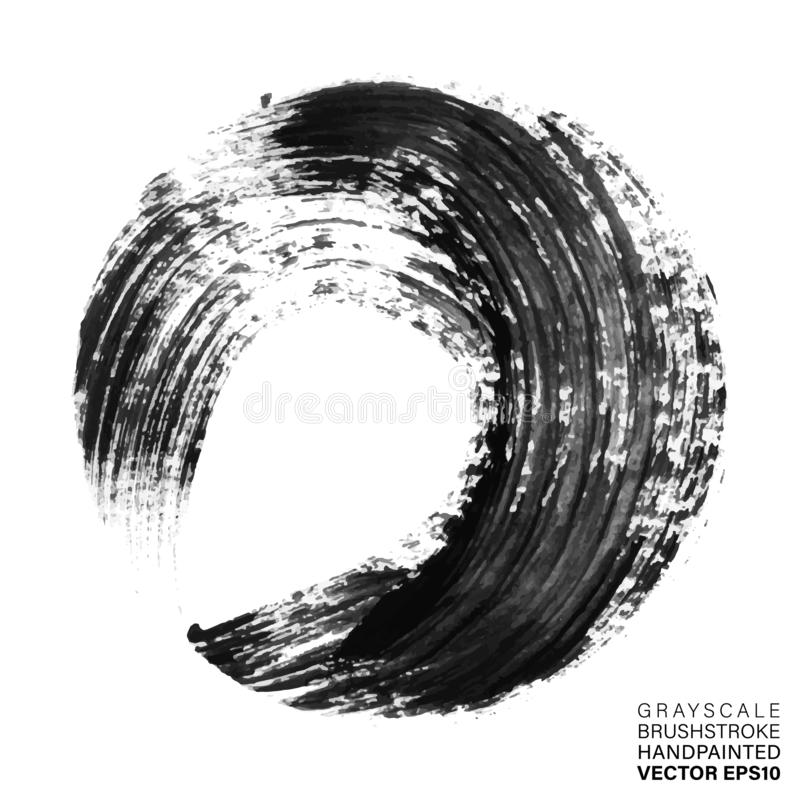 Grayscale hand painted stroke. Vector multicolor artistic stroke for backdrop. Brush painted ink circle. Grungy paint vector illustration