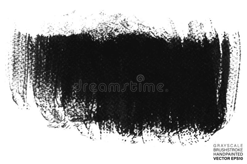 Grayscale hand painted stroke. Vector multicolor artistic stroke for backdrop. Brush painted ink spot. Grungy paint. stock illustration