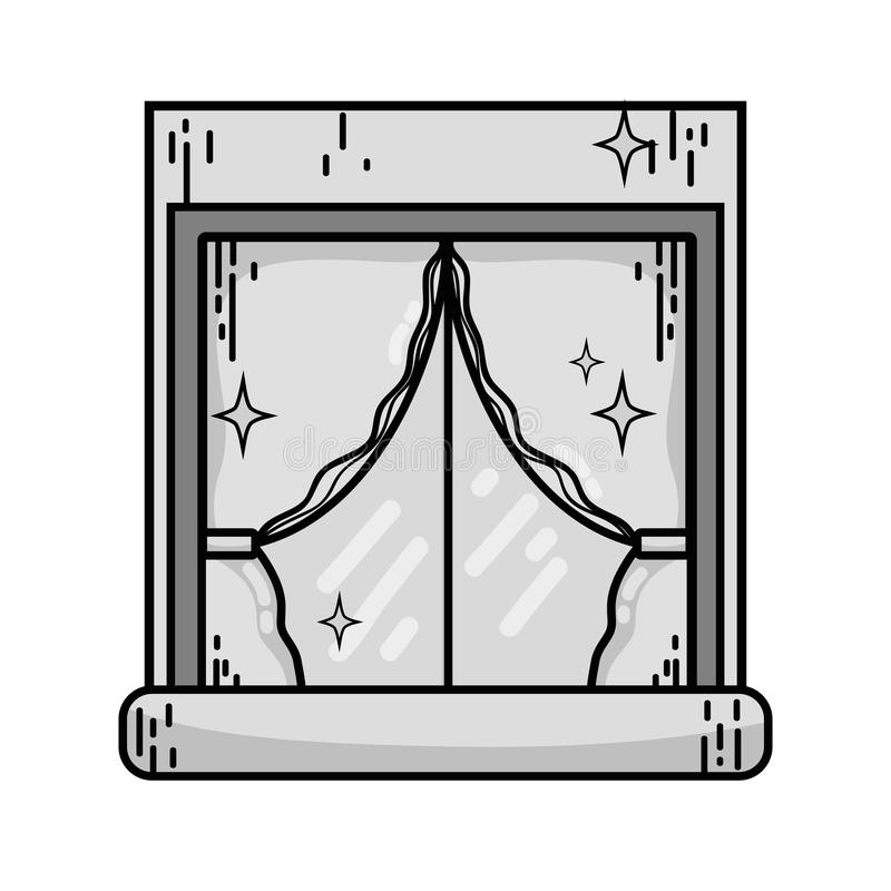 Grayscale house window clean with curtains design royalty free illustration