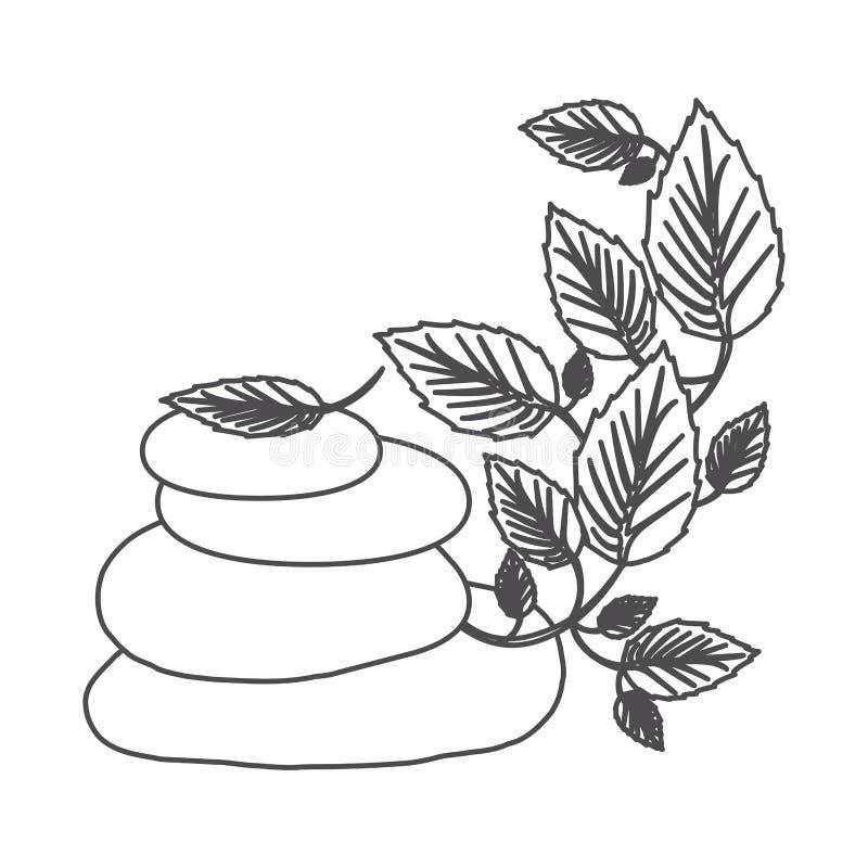 grayscale kontur lawa kamienie i pełzacz roślina royalty ilustracja