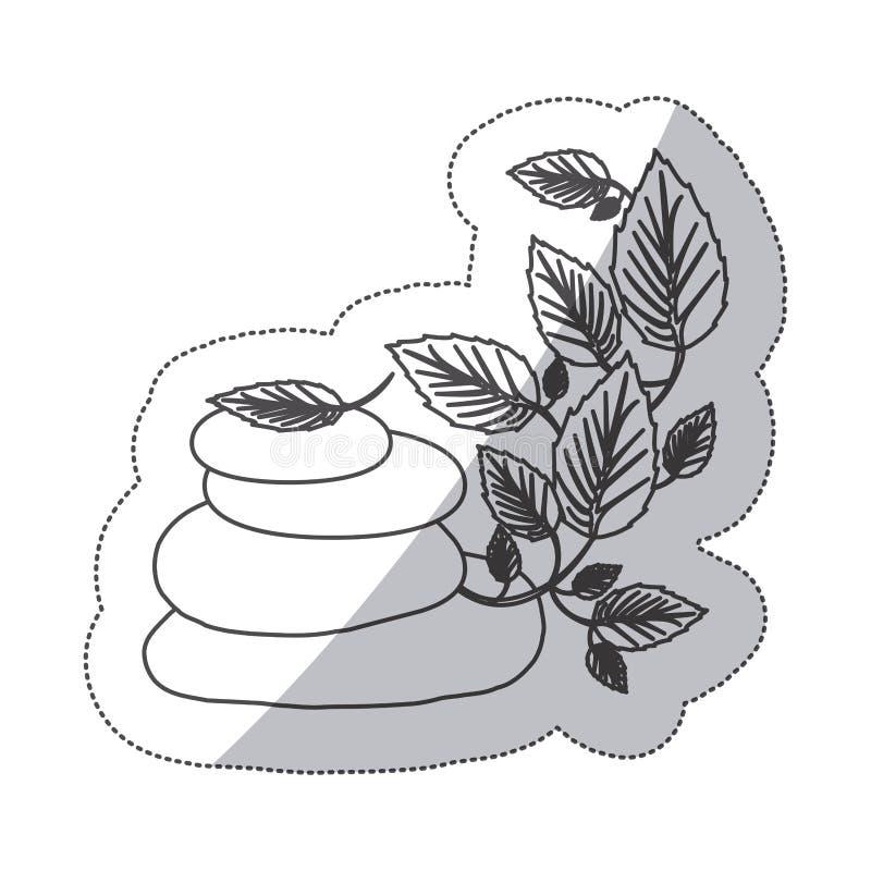 grayscale konturowy majcher lawa kamienie i pełzacz roślina ilustracji