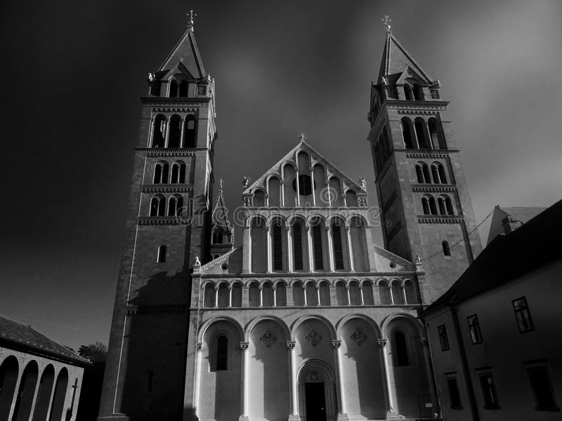 Grayscale Low Angle Photo of a Cathedral royalty free stock image
