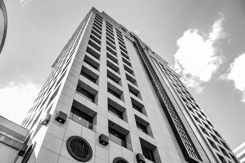 Grayscale Low Angle Photography of High Rise Building royalty free stock images