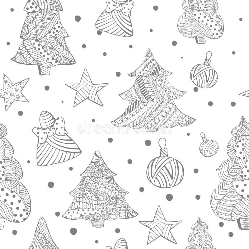 Grayscale nahtlos mit Weihnachtstannenbäumen, Spielwaren vektor abbildung
