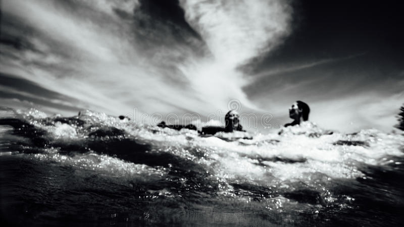 Grayscale Photo Of 2 Person Swimming On Ocean Free Public Domain Cc0 Image