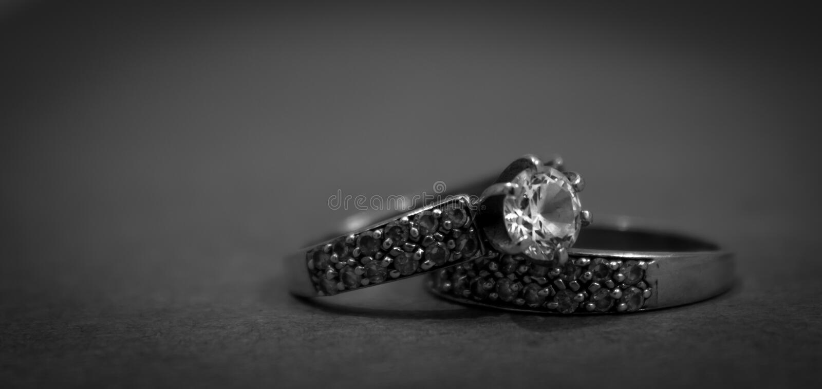 Grayscale Photo Of 2 Silver With Diamond Rings Free Public Domain Cc0 Image