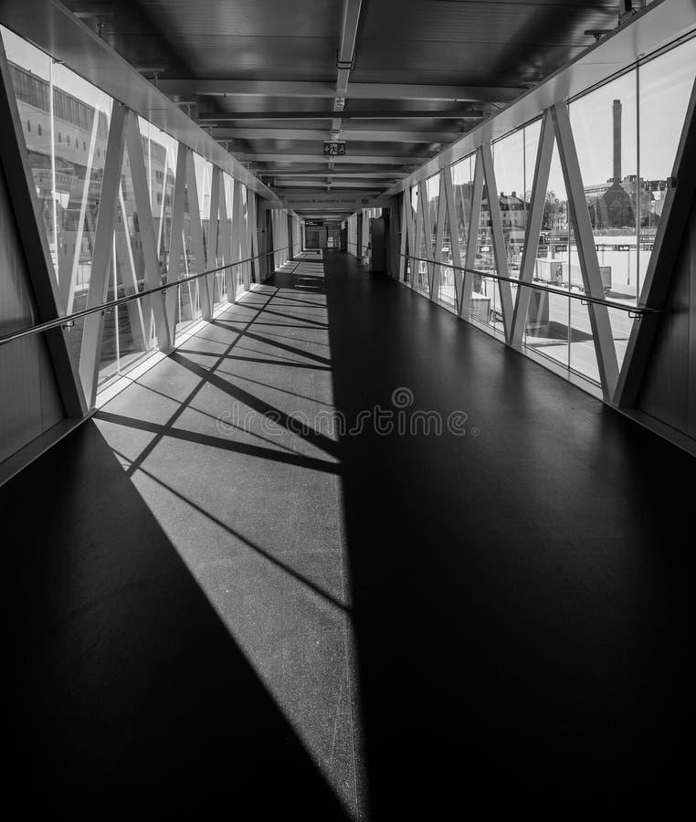 Grayscale Photo of Bridge royalty free stock photo