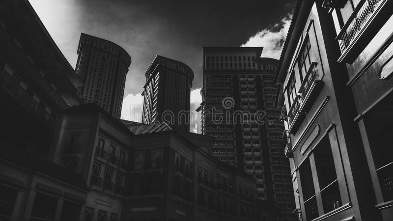Grayscale Photo Of Concrete Building royalty free stock photo