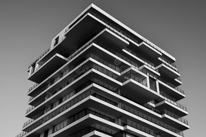 Grayscale Photo of Concrete Building royalty free stock images