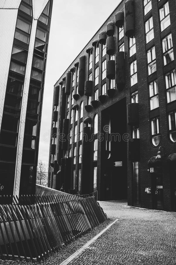 Grayscale Photo of Concrete Buildings royalty free stock photography