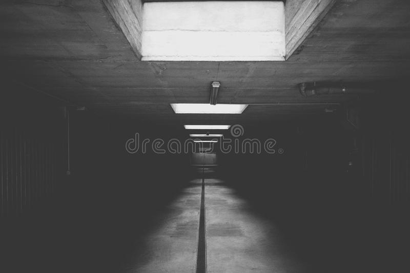 Grayscale Photo of Concrete Room royalty free stock photos