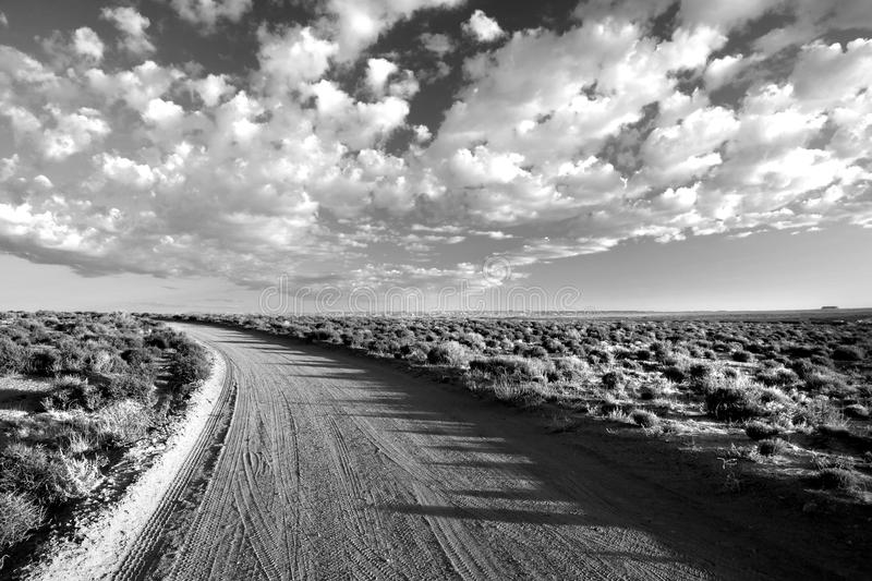 Grayscale Photo of Empty Road Between Grass Field Under Cloudy Sky royalty free stock image