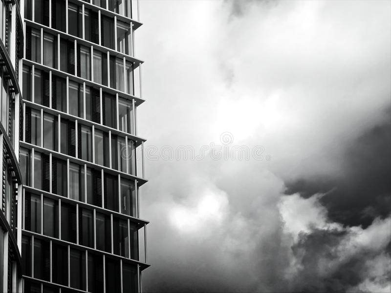 Grayscale Photo of Glass Building stock images