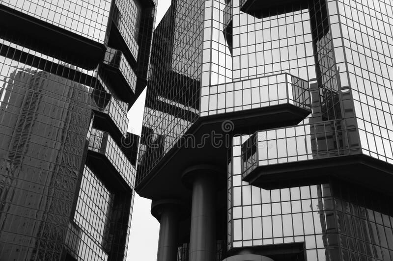 Grayscale Photo of Glass Building stock photo