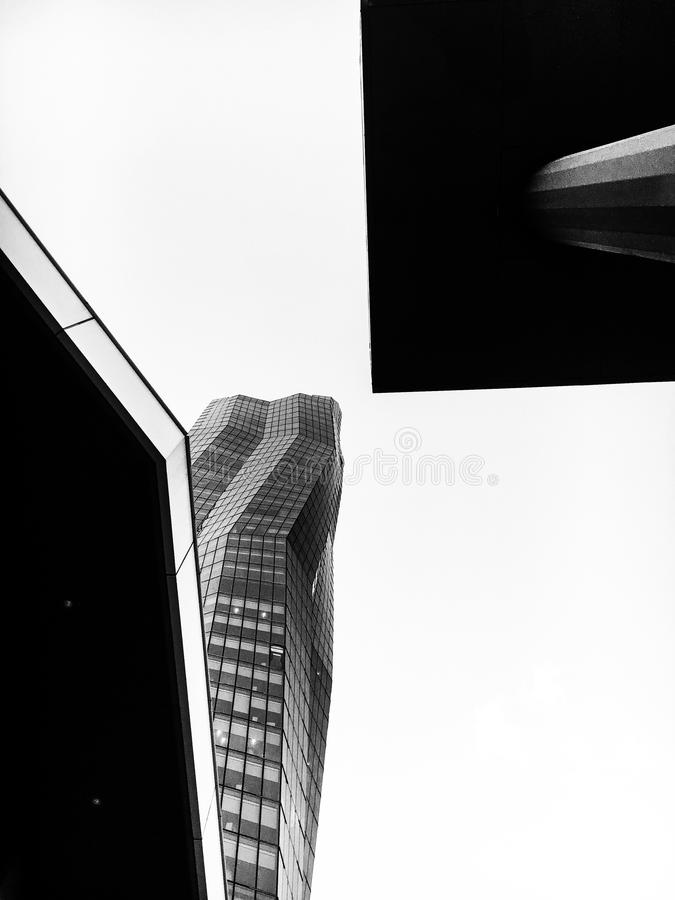 Grayscale Photo of Glass Curtain High Rise Building royalty free stock photo