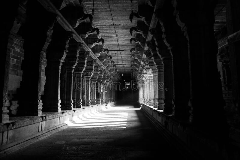 Grayscale Photo of Hallway stock images