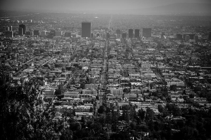 Grayscale Photo of High-rise Buildings stock image