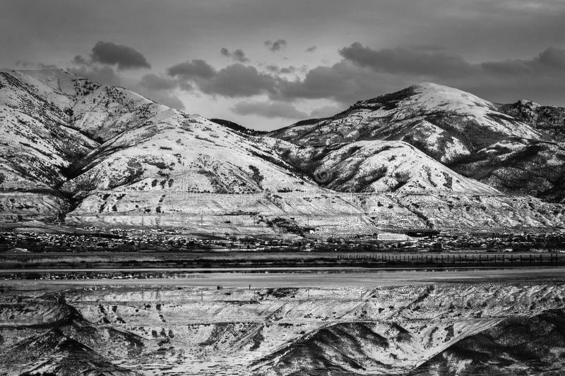 Grayscale Photo of a Landscape View of Mountains stock photos