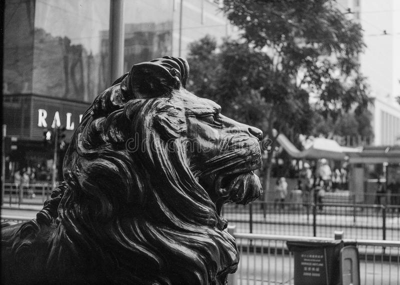 Grayscale Photo of Lion Statue stock images