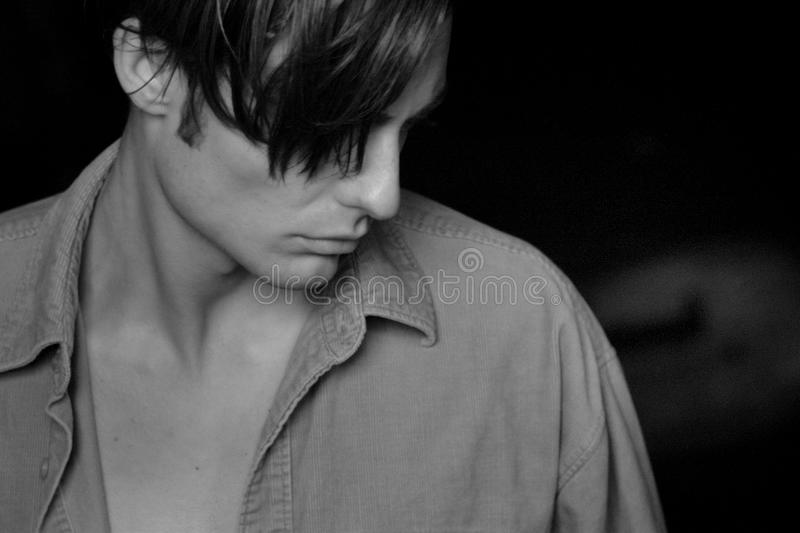Grayscale Photo Of Man Wearing Collared Shirt stock image