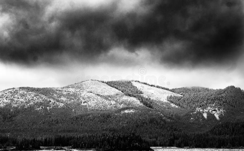 Grayscale Photo of Mountain royalty free stock image