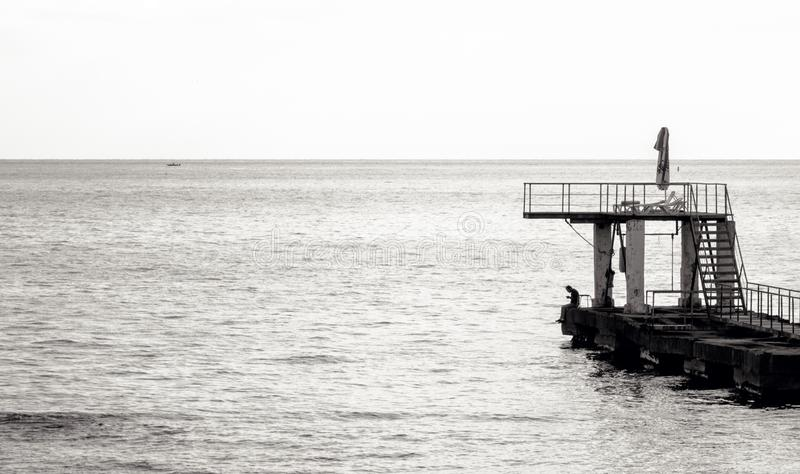 Grayscale Photo of Sea Diving Port stock photos