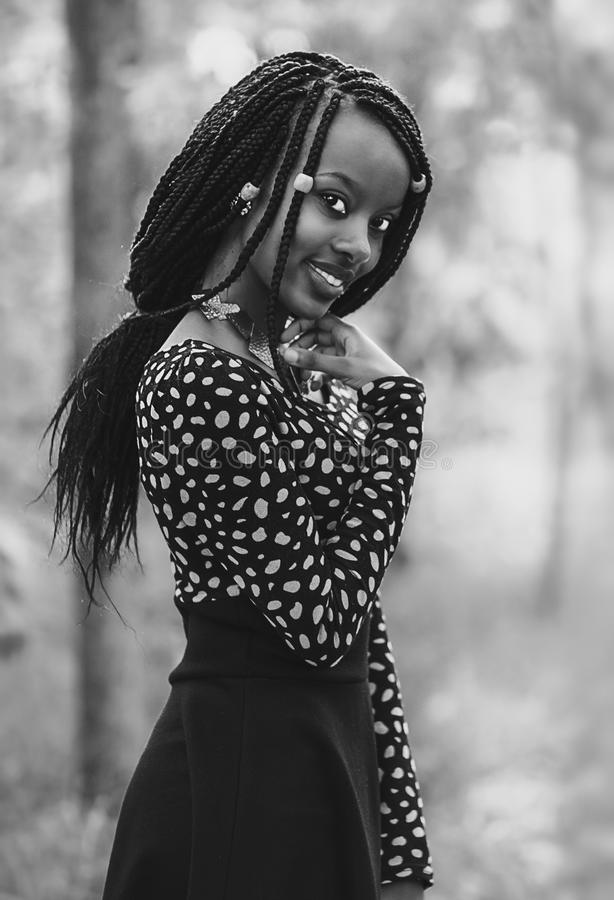 Grayscale Photo Of Smiling Woman royalty free stock photography