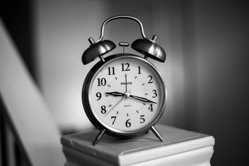 Grayscale Photo of Twin Bell Alarm Clock royalty free stock photos