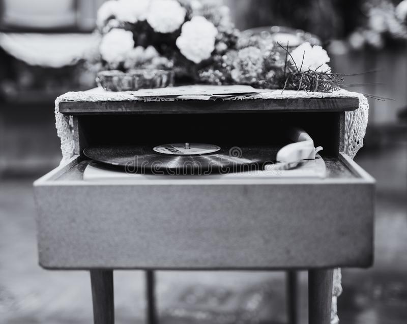 Grayscale Photo Of Vinyl Record Album Playing In Turntable stock images