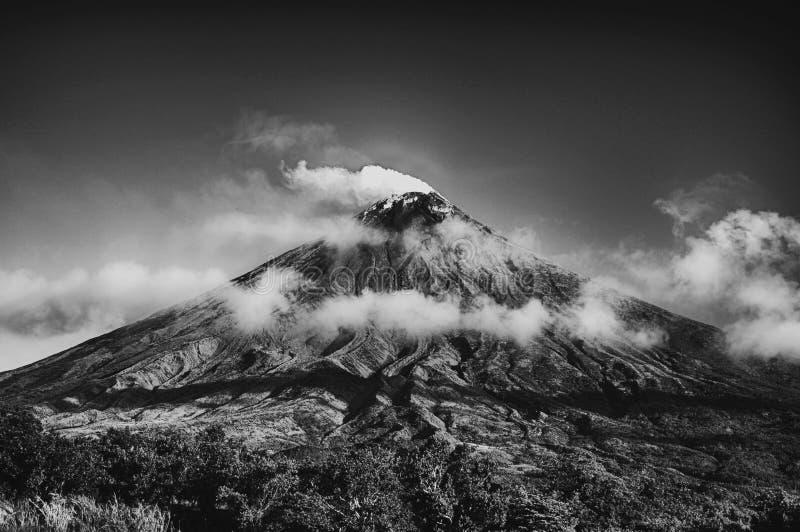 Grayscale Photo of Volcano royalty free stock photo