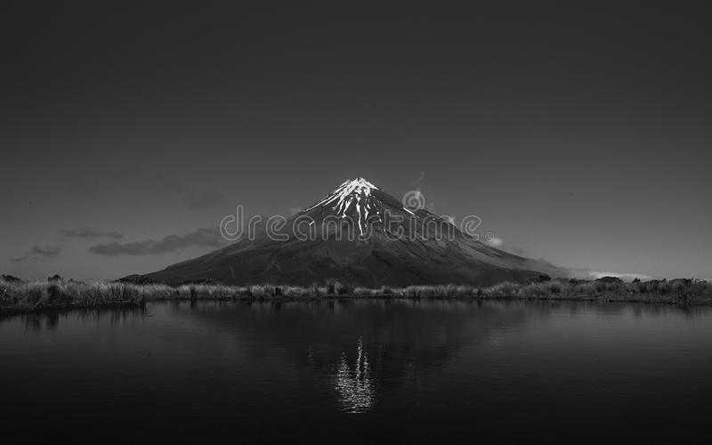 Grayscale Photo of Volcano royalty free stock photos