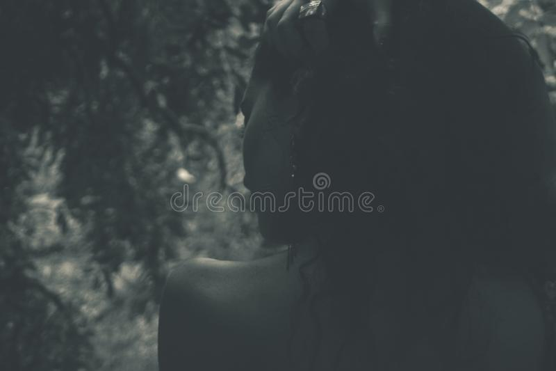 Grayscale Photo of a Woman stock photography