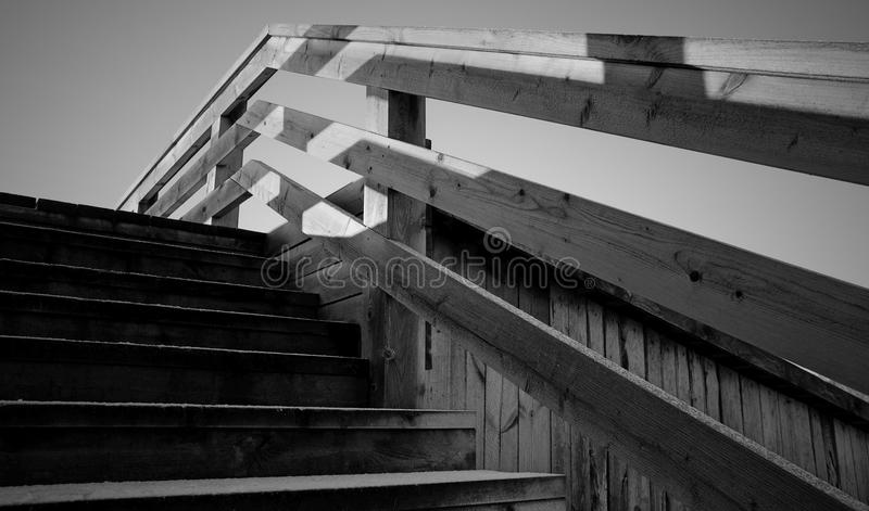 Grayscale Photo of Wooden Stairs royalty free stock photos