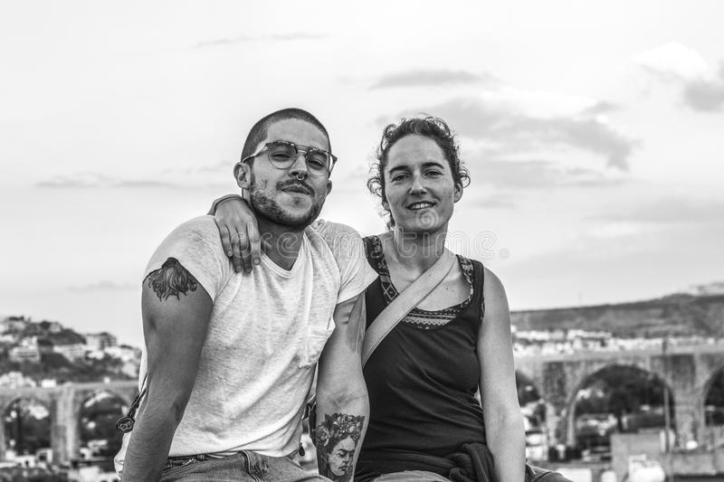 Grayscale Photograph of Man and Woman stock image