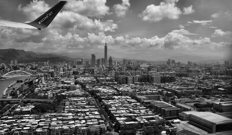 Grayscale Photography of Aerial View of City royalty free stock images