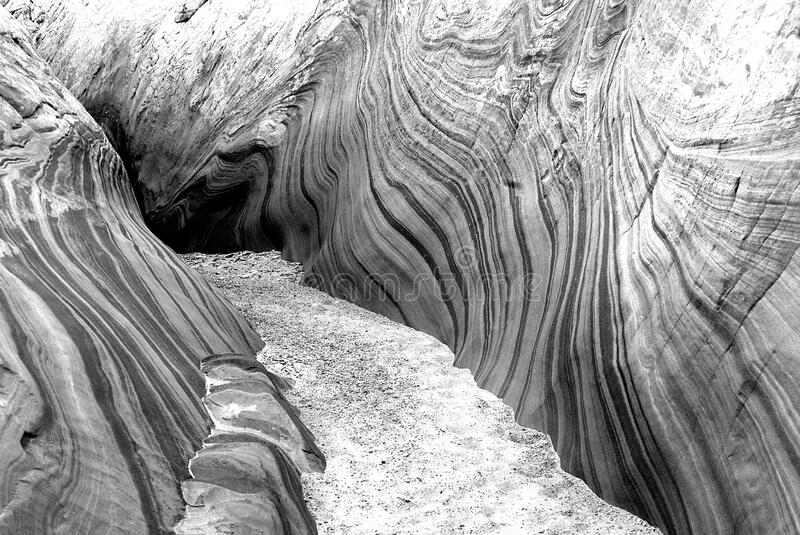 Grayscale Photography of Antelope Canyon stock images