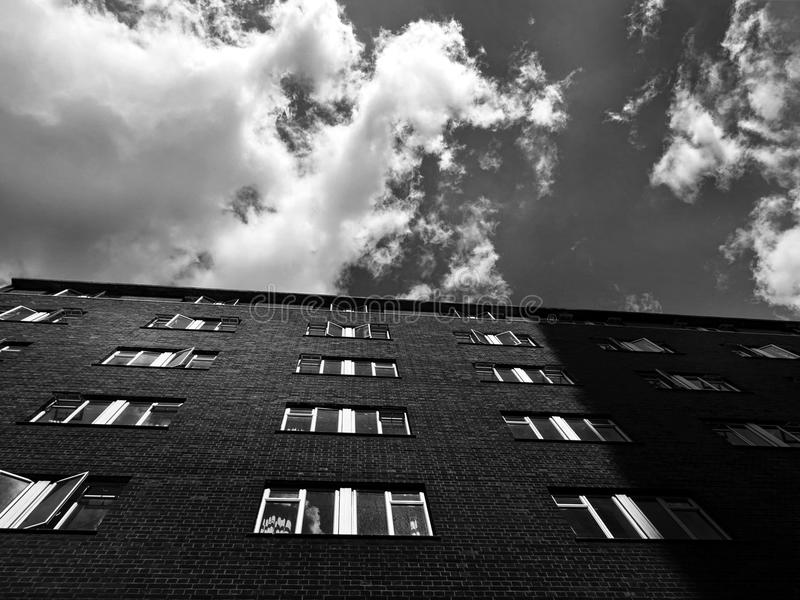 Grayscale Photography of Building royalty free stock photo