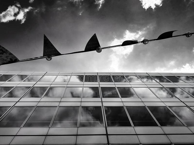 Grayscale Photography of a Building royalty free stock photography