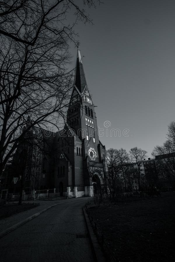 Grayscale Photography of Cathedral royalty free stock images