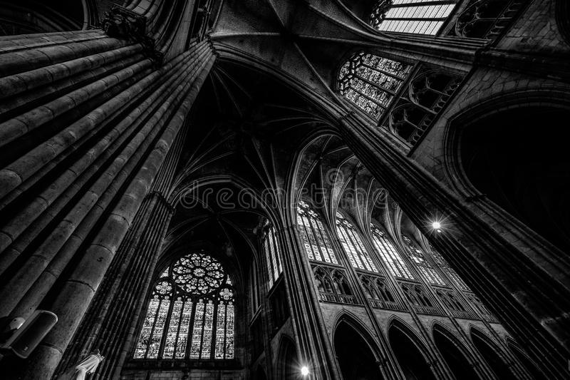 Grayscale Photography of Cathedral Ceiling stock photography