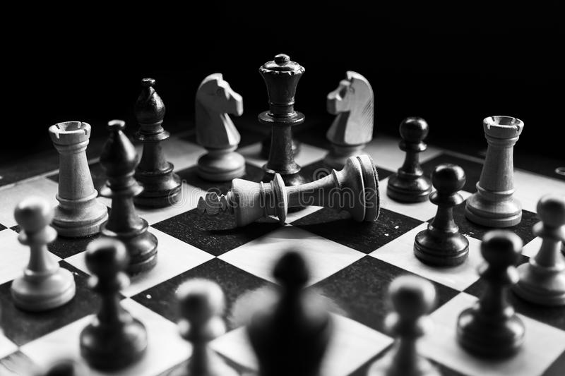 Grayscale Photography Of Chessboard Game royalty free stock photos
