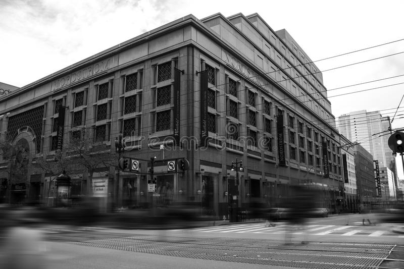 Grayscale Photography of City Building stock photography