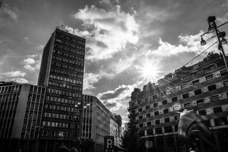 Download Grayscale Photography Of High Rise Building Stock Photo - Image of clouds, free: 83015638