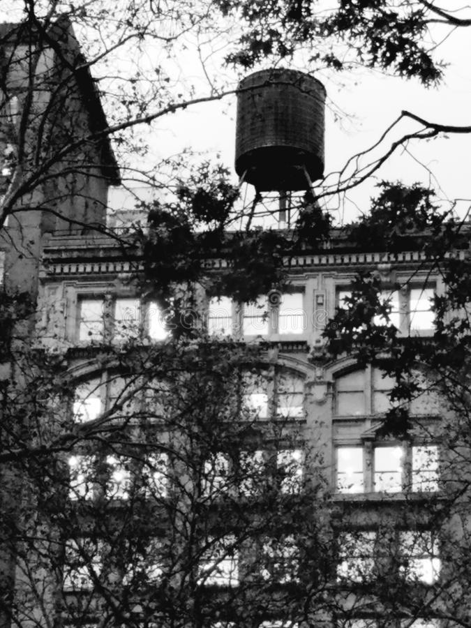 Black and white photo of building with water tank tower and park trees. Grayscale photography, historic office building with classic NYC wooden water tank raised royalty free stock photo