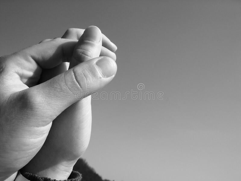 Grayscale Photography of Human Hand Holding Hands royalty free stock images