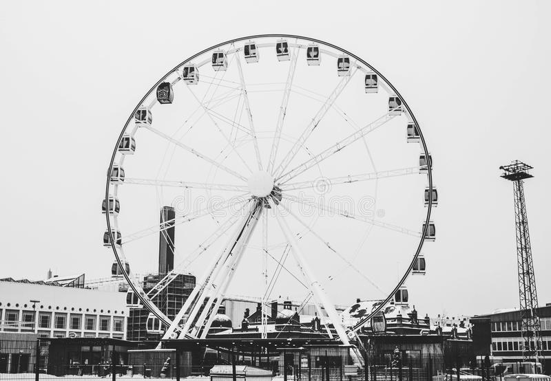 Grayscale Photography Of London Eye stock image