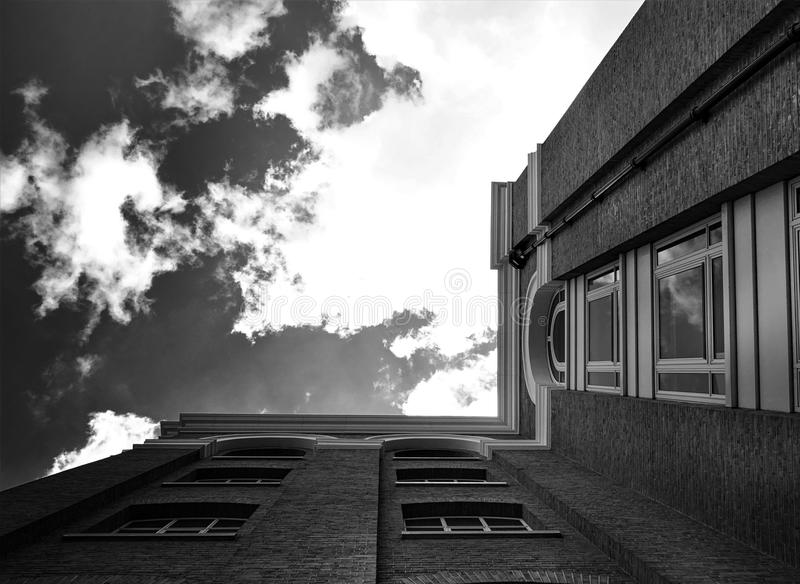 Grayscale Photography of Low Angle Building royalty free stock photos