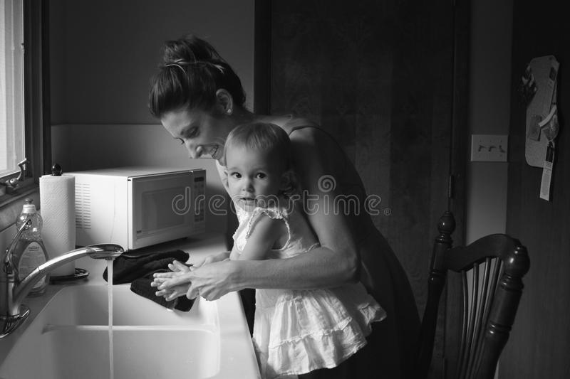 Grayscale Photography of Mother and Child royalty free stock photo